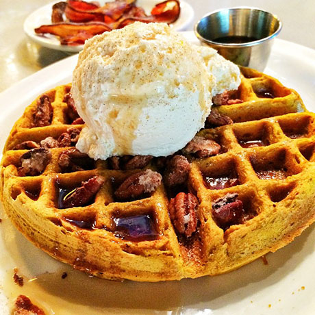 waffle with wipped cream and pecans