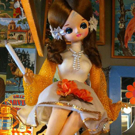 closeup of collectible doll